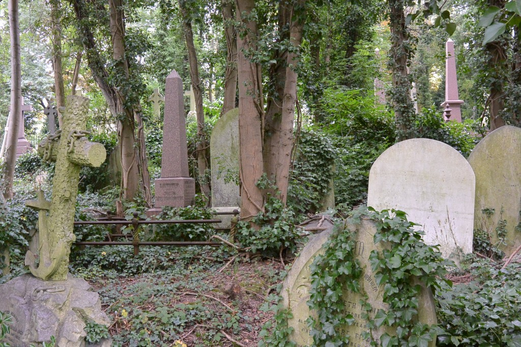 Overgrown graves are common in Highgate.